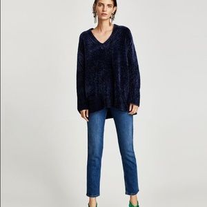 Zara Midnight Blue Boxy Chenille Sweater